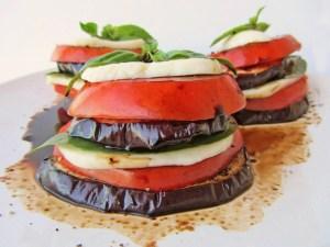 EggplantTomatoandMozzarella Stacks